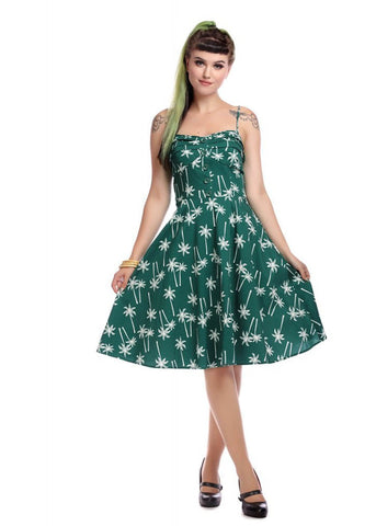 Collectif Fairy Vintage Palm 50's Swing Dress Green