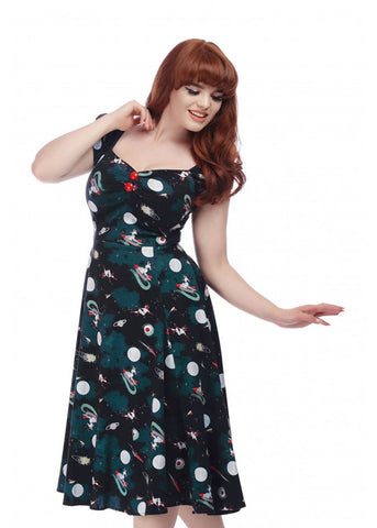 Collectif Dolores Space Pin Up 50's Swing Dress Multi