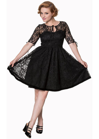 Banned Feeling Rosie Lace 50's Swing Dress Black