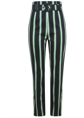 Collectif Thea Witch Stripes 60's Trousers Black