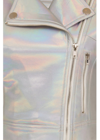 Collectif Outlaw Holographic Biker Jacket Silver