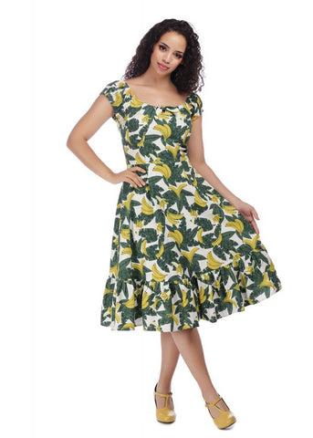 Collectif Lorena Tropical Banana 50's Swing Dress Green Yellow