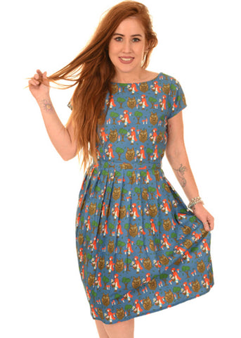 Run and Fly Red Riding Hood 50's Dress Blue