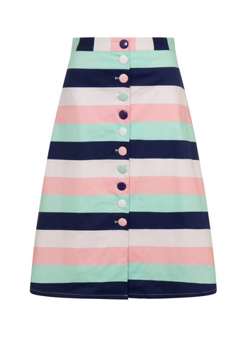 Collectif Camilla Candy Stripes A-Line Skirt