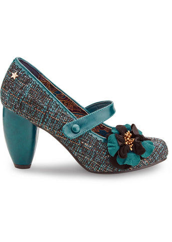 Joe Browns Couture Rosalind Tweed 60's Pumps Teal Color