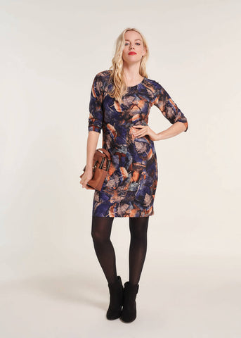 Smashed Lemon Autumn Winds 60's Pencil Dress Navy Brown