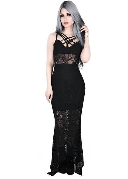 Killstar Deadly Beloved Lace Maxi Dress Black