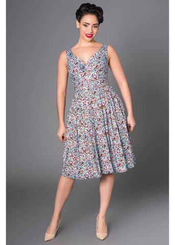 Victory Parade Retro Frock Birds 50's Dress Blue