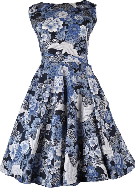 Victory Parade Rosa Crane 50's Swing Dress Blue Silver