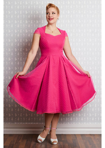 Miss Candyfloss Ella Dots 50's Swing Dress Magenta
