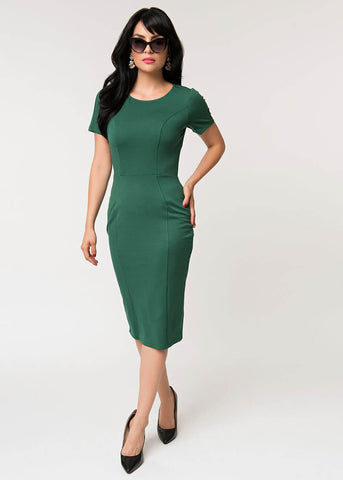 Unique Vintage Mod Wiggle 60's Pencil Dress Emerald Green