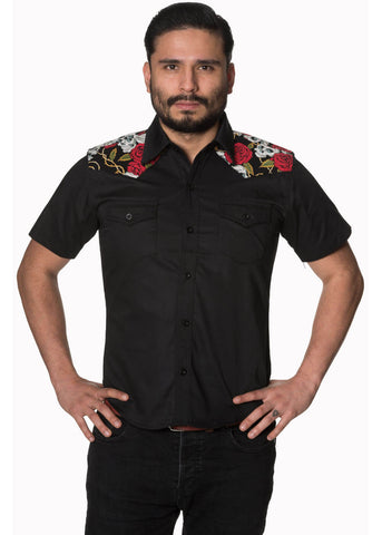 Banned Heren Skull & Rose Shirt Black