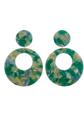 Collectif Eeva Hoop Earrings Green