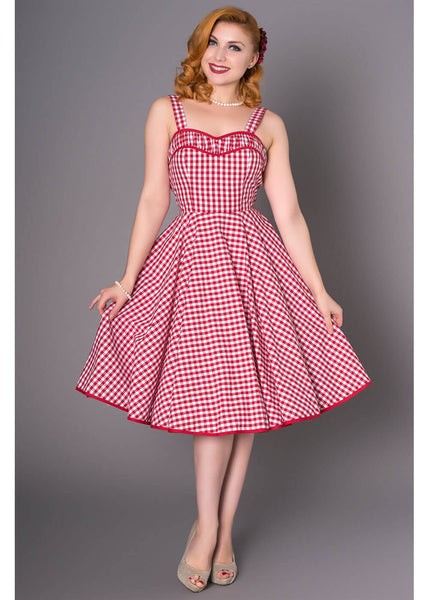 Sheen Angie Gingham 50's Swing Dress Red