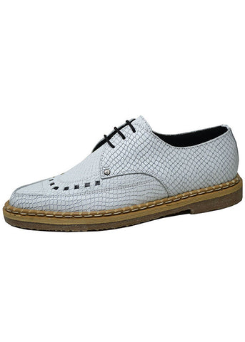 Steelground Snake Grain White Leather Creeper