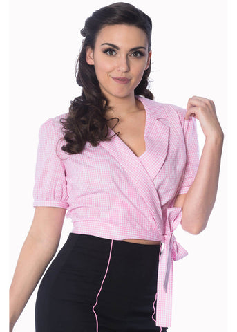 Banned Grease Gingham Wrap Blouse Pink