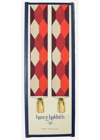Hunt & Holditch Braces With Golden Clips Burgundy