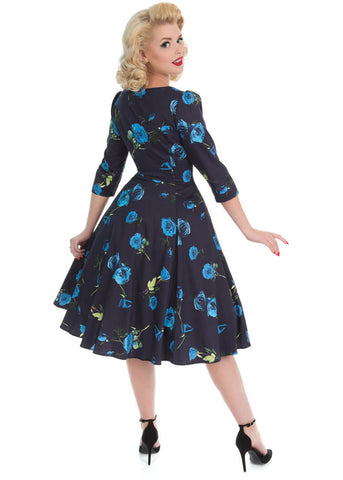 Hearts & Roses Melody 50's Swing Dress Blue