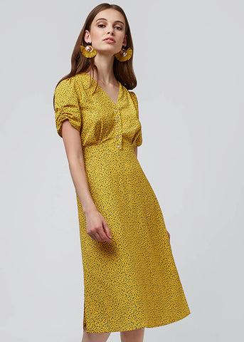 Louche Chantal Mini Fleur Tea 40's Dress Yellow