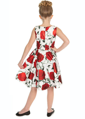 Hearts & Roses Kids Athena Metallic 50's Swing Dress White