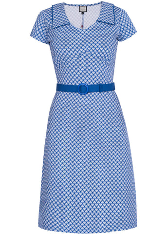 Mademoiselle Yéyé Vintage Moments 60's Dress Art Deco Blue