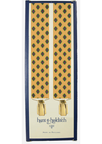 Hunt & Holditch Braces Diamond With Golden Clips Mustard