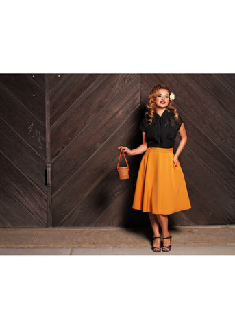 Rock Steady High Waist Thrills 50's Swing Skirt Mustard
