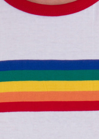 Run and Fly Rainbow Striped T-Shirt White