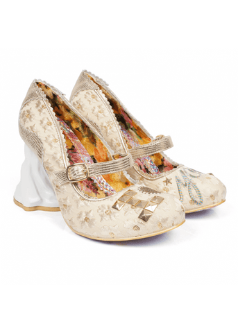 Irregular Choice I Love You Bridal Shoes Gold