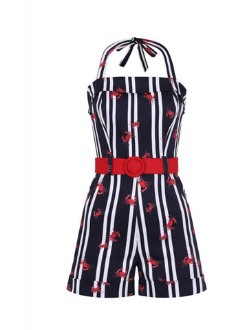 Collectif Jojo Crabs And Stripes 60's Playsuit Multi Navy