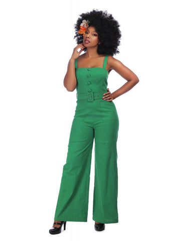 Collectif Olympia 60's Jumpsuit Green