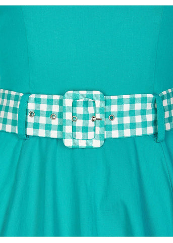 Collectif Kitty Gingham 50's Swing Dress Jade