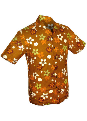 Chenaski Men Fridge Flowers 50's Shirt Brown