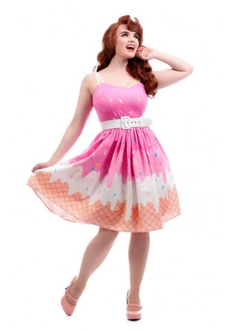 Collectif Jade Ice Cream 50's Swing Dress Pink