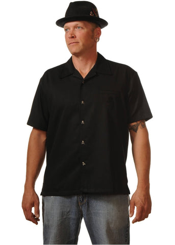 Rock Steady Gentlemens Skull Button Up Shirt Black
