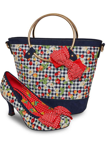 Joe Browns Couture Diva Stawberry Gingham Bag Blue