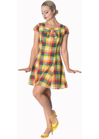 Banned Rainbow Check Built Up 60's Dress