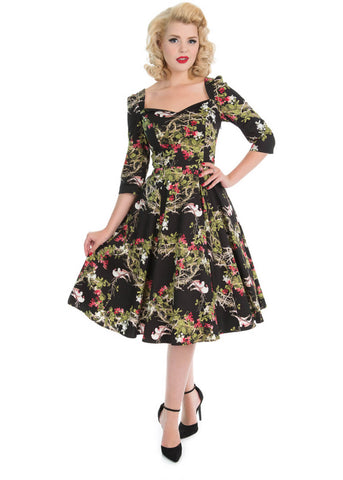 Hearts & Roses Into The Woods 50's Swing Dress Black