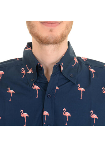 Run and Fly Mens Flamingo Pose Shirt Navy