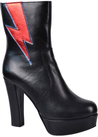 Buffalo Gold Fusion Lightening Bolt Leather 70's Boots Black