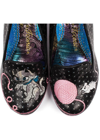 Irregular Choice Fuzzy Peg Polkadot Pumps Black