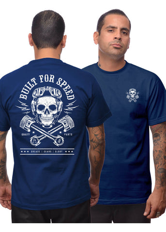 Steady Clothing Mens Built For Speed T-Shirts Navy