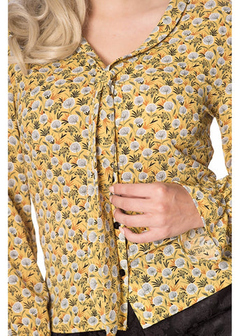 Banned Ruffle My Feathers 60's Blouse Mustard