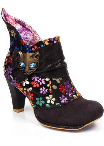 Irregular Choice Miaow Print Boots Black