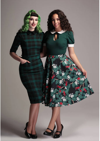 Collectif Winona Slither Check 50's Pencil Dress Black Green