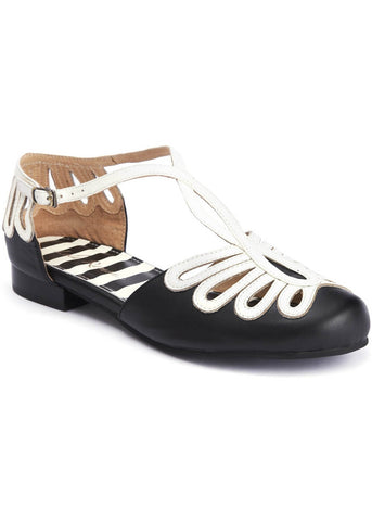 Lola Ramona Penny Dainty 50's Sandals Black Cream