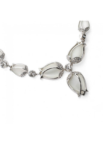Yoko Giftset Tulip Necklace And Earrings Silver