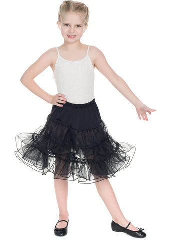 Hearts & Roses Kids Petticoat Black