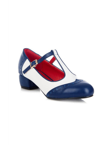 Lulu Hun Georgia 50's Block Heel Pumps Navy Ivory