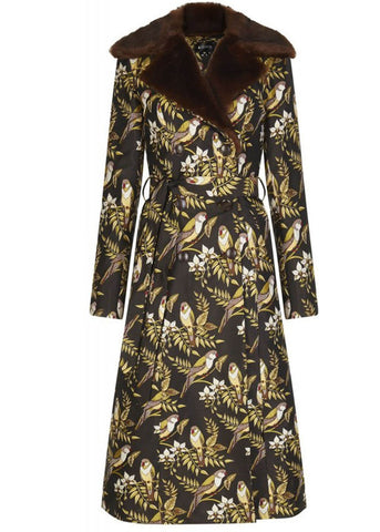 Bright & Beautiful Caron Jacquard Bird 70's Coat Brown
